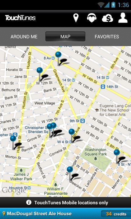 TouchTunes Jukebox Mobile App -app locations -Cruz