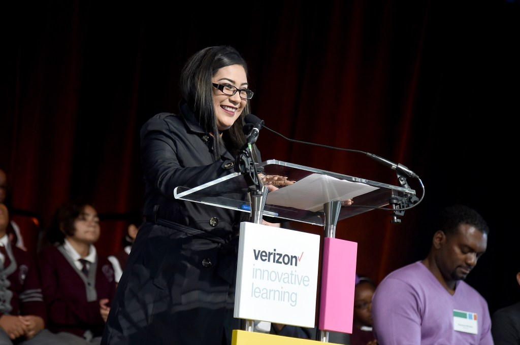 NEW YORK, NY - OCTOBER 29: Robotics Competition Winner and Protege of Will.i.am Cynthia Erenas speaks during Verizon Innovative Learning Event at P.S. 171 Patrick Henry School on October 29, 2016 in New York City. (Photo by Ilya S. Savenok/Getty Images for Verizon)