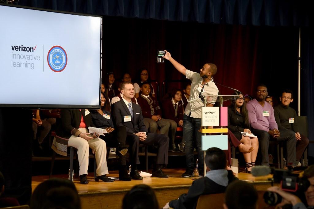 NEW YORK, NY - OCTOBER 29: Entrepreneur & Motivational Speaker Jaylen Bledsoe speaks during Verizon Innovative Learning Event at P.S. 171 Patrick Henry School on October 29, 2016 in New York City. (Photo by Ilya S. Savenok/Getty Images for Verizon)