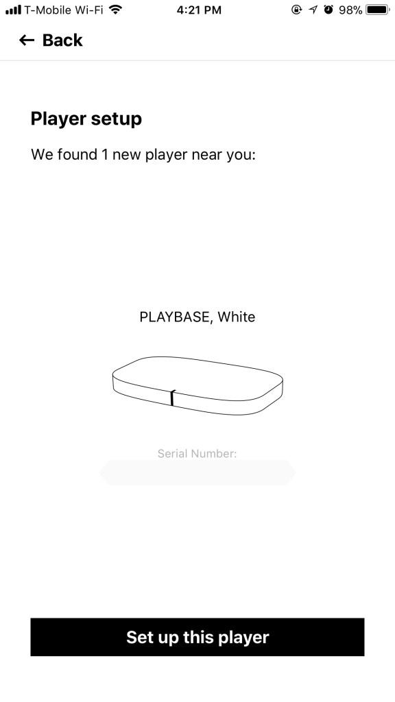 Sonos App - Playbase - Setup