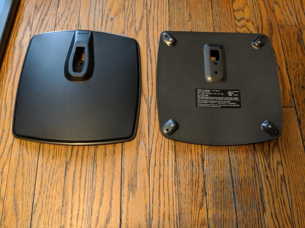 Floor Plates - Base - Sanus Adjustable Height Wireless Speaker Stands for Sonos One Play 1 - Review