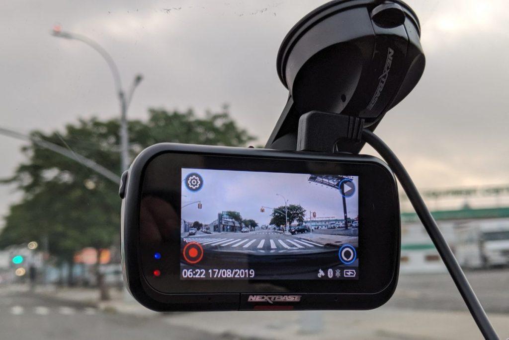 Nextbase 422GW  dash cam screen. Mounted on car windshield