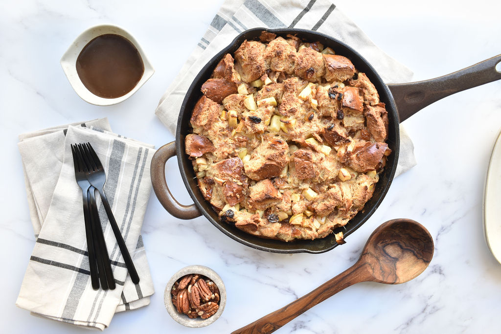 pan with Cast Iron pan Fall Bread Pudding with Brown Butter Apples and