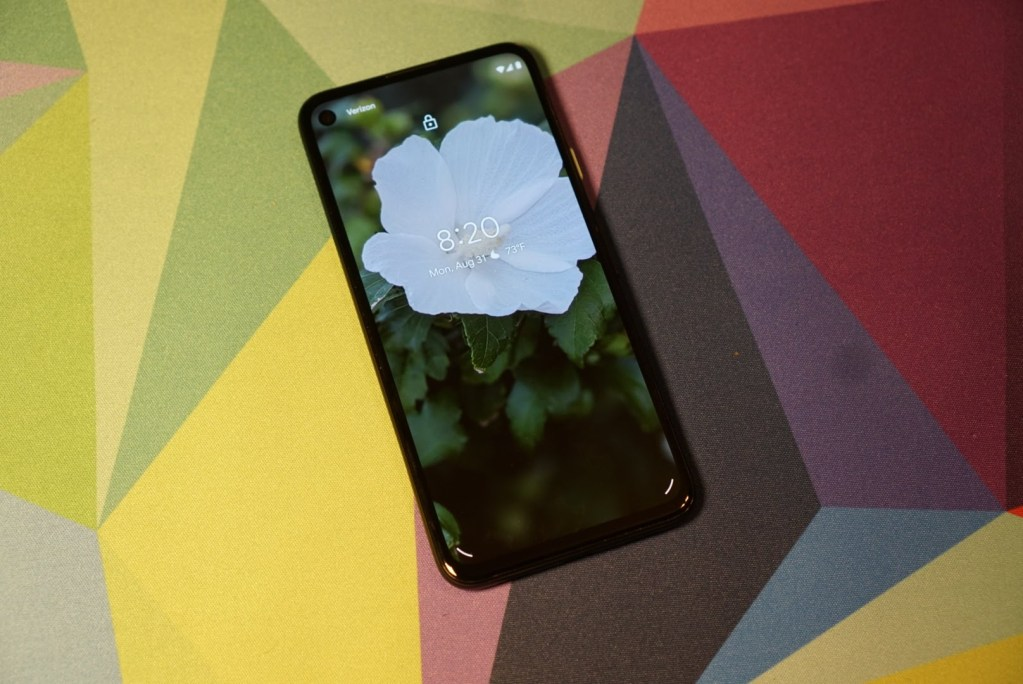 Lock screen on Google Pixel 4a