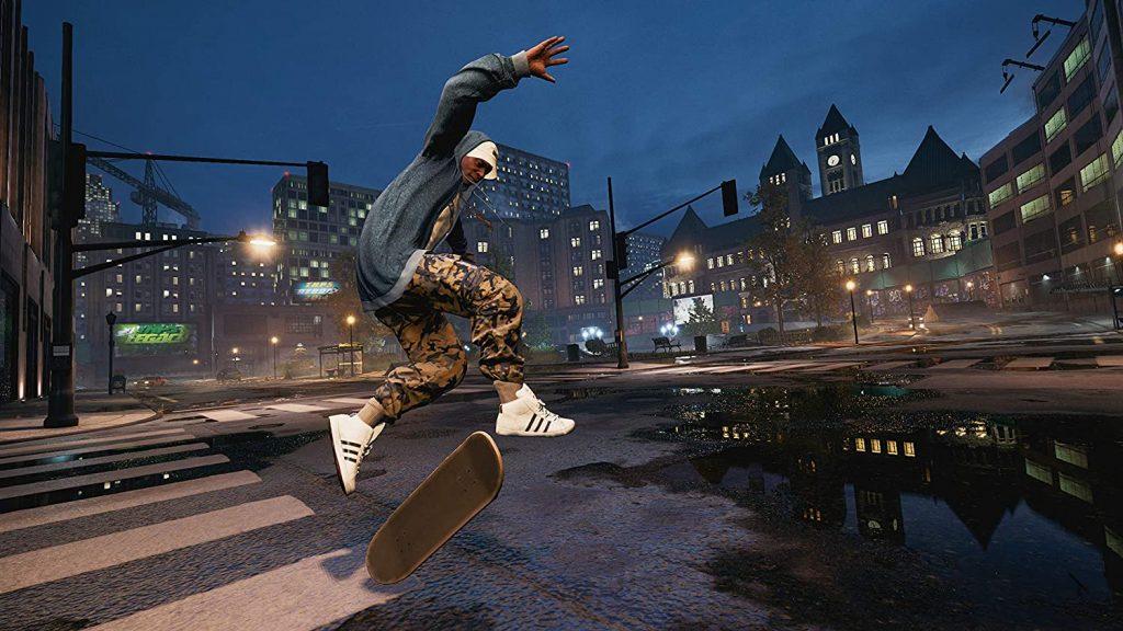 man mid jump with skateboard